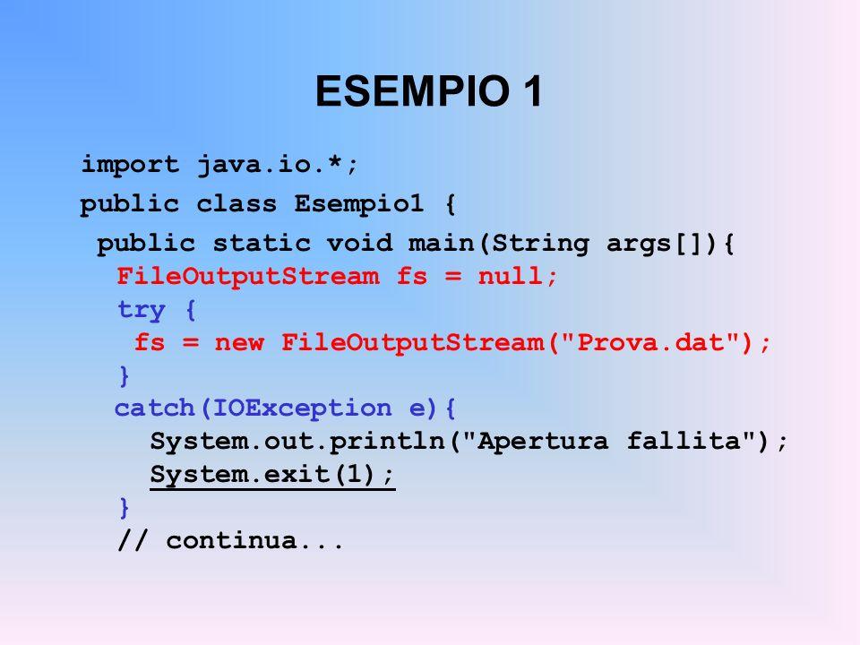 ESEMPIO 1 import java.io.*; public class Esempio1 {