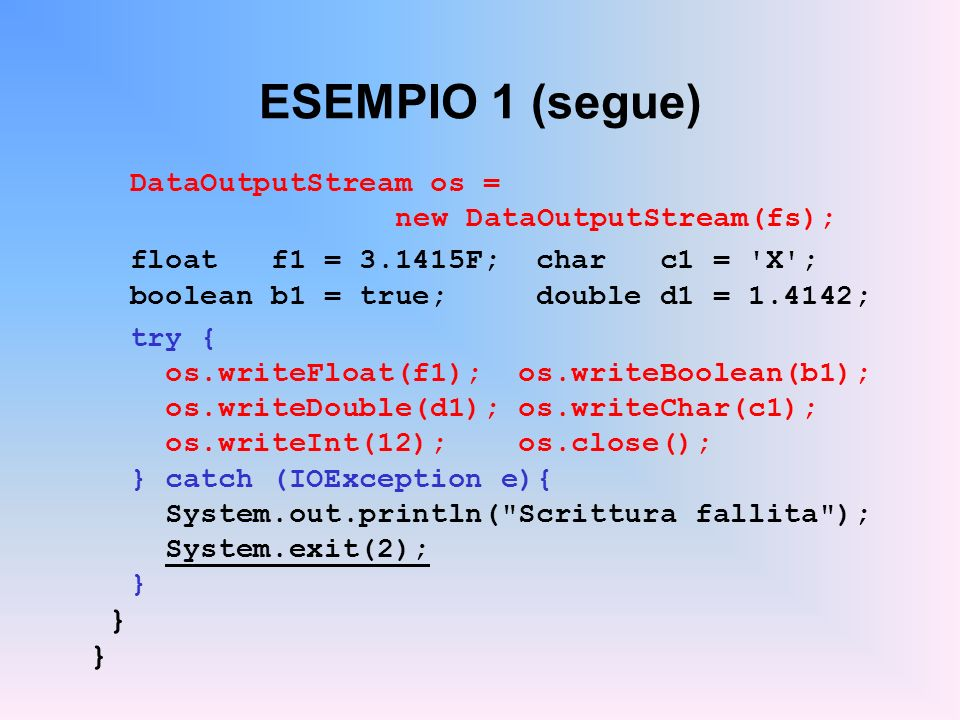ESEMPIO 1 (segue) DataOutputStream os = new DataOutputStream(fs);