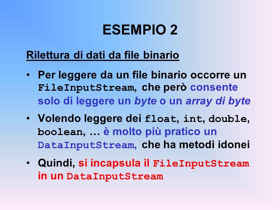 ESEMPIO 2 Rilettura di dati da file binario