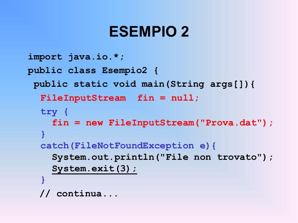 ESEMPIO 2 import java.io.*; public class Esempio2 {