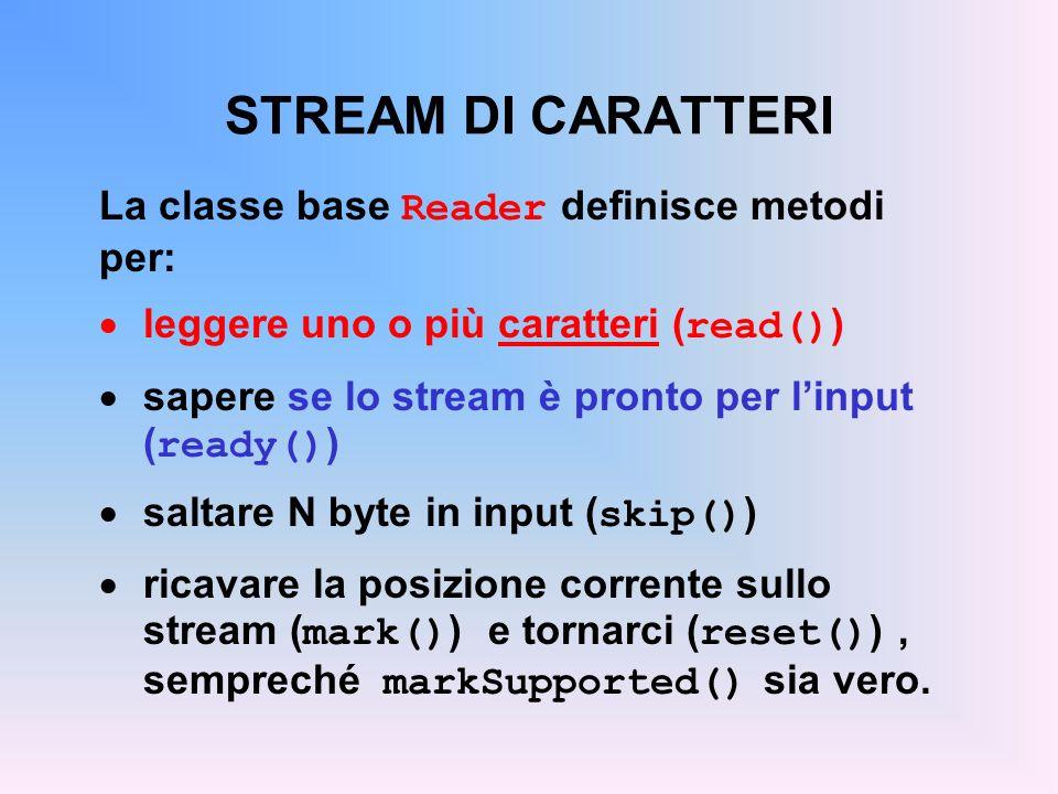 STREAM DI CARATTERI La classe base Reader definisce metodi per: