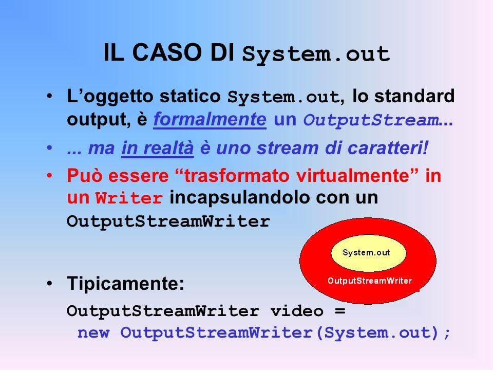 IL CASO DI System.out L'oggetto statico System.out, lo standard output, è formalmente un OutputStream...