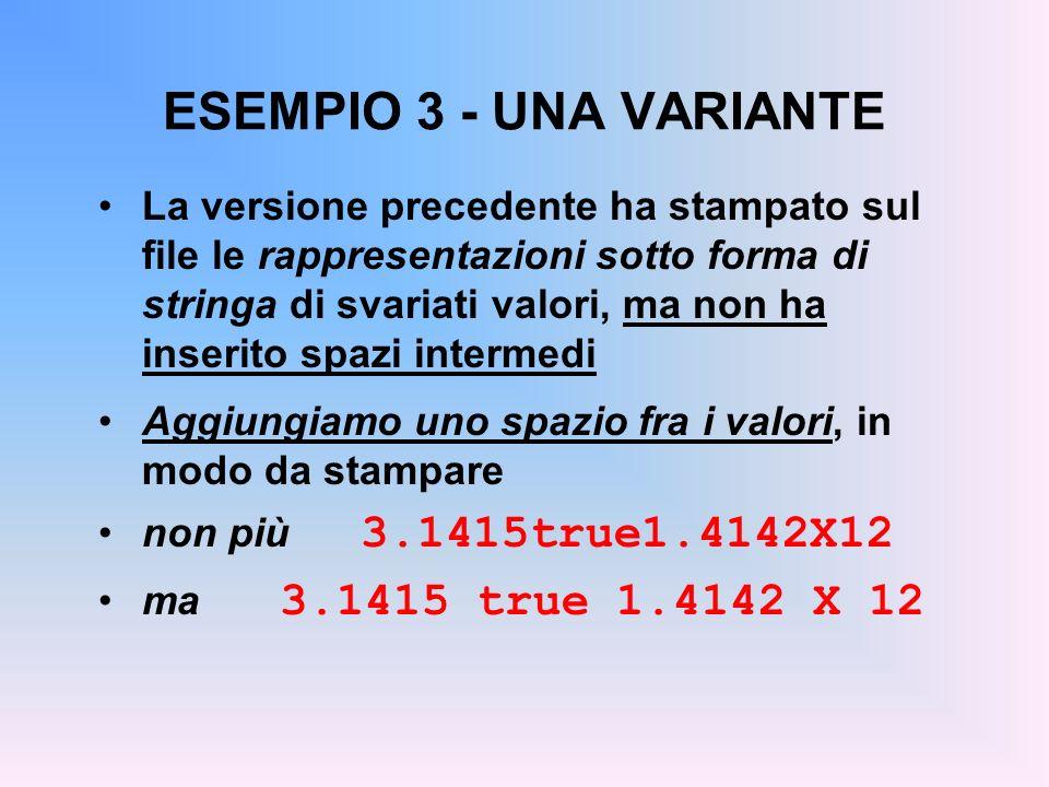 ESEMPIO 3 - UNA VARIANTE