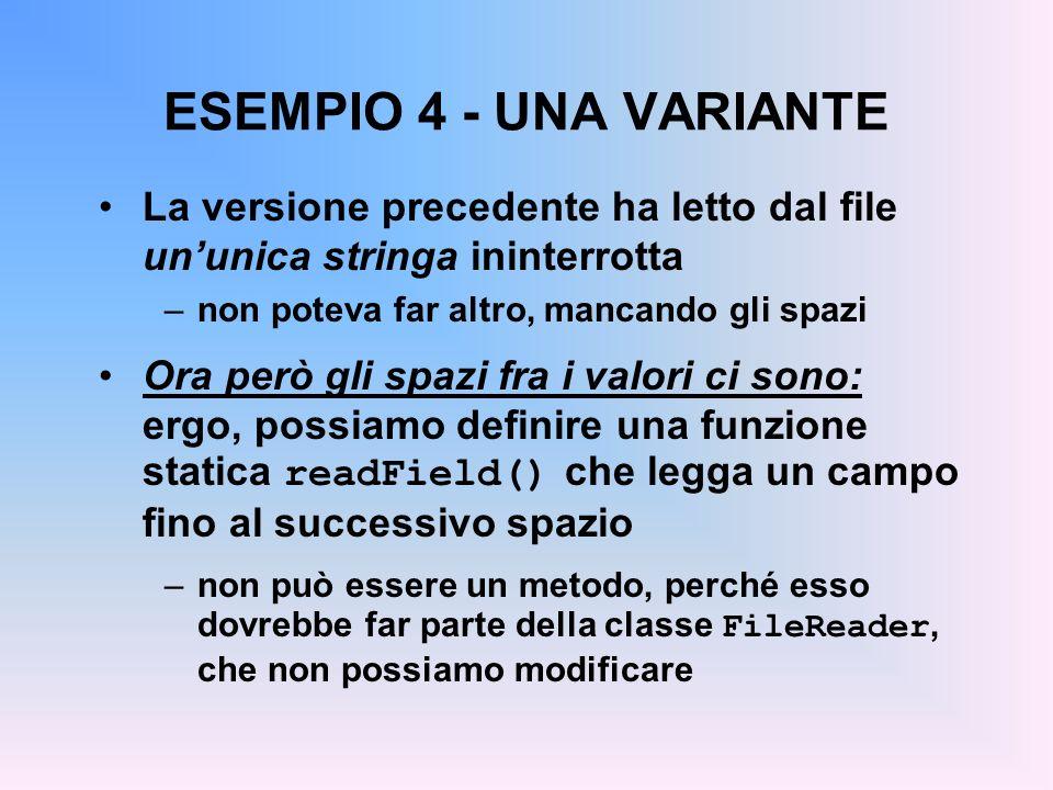 ESEMPIO 4 - UNA VARIANTE La versione precedente ha letto dal file un'unica stringa ininterrotta. non poteva far altro, mancando gli spazi.