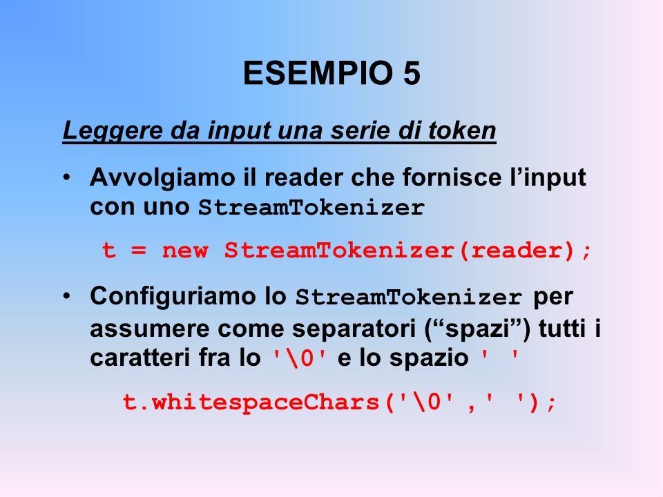 t = new StreamTokenizer(reader); t.whitespaceChars( \0 , );