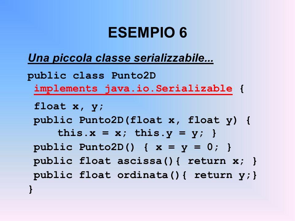 ESEMPIO 6 Una piccola classe serializzabile...