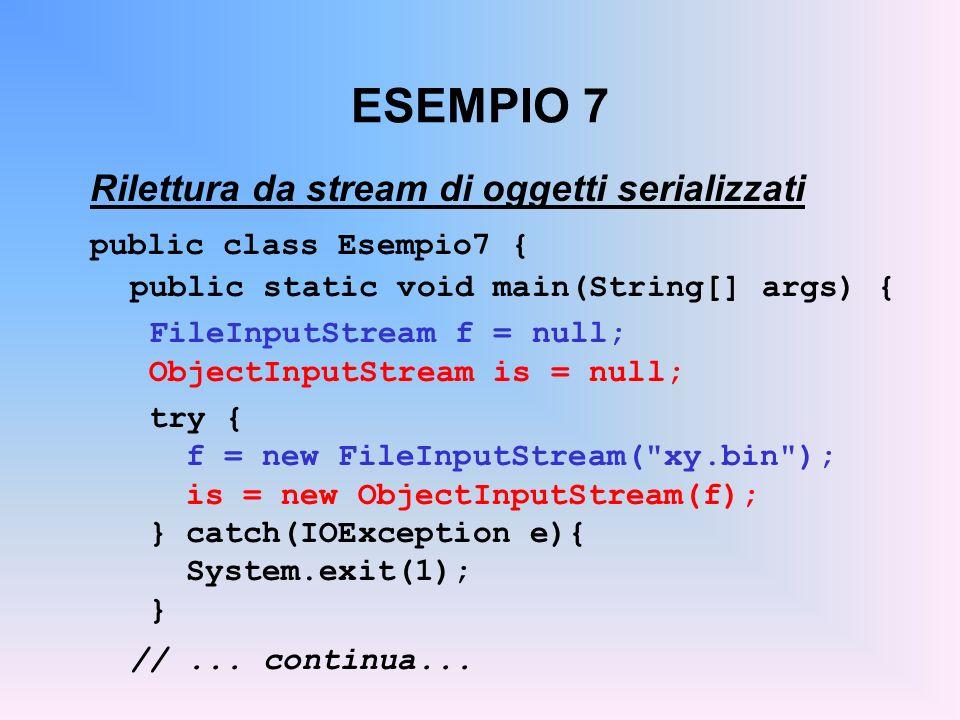 ESEMPIO 7 Rilettura da stream di oggetti serializzati