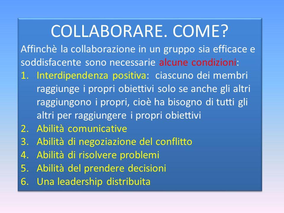 COLLABORARE. COME Affinchè la collaborazione in un gruppo sia efficace e soddisfacente sono necessarie alcune condizioni: