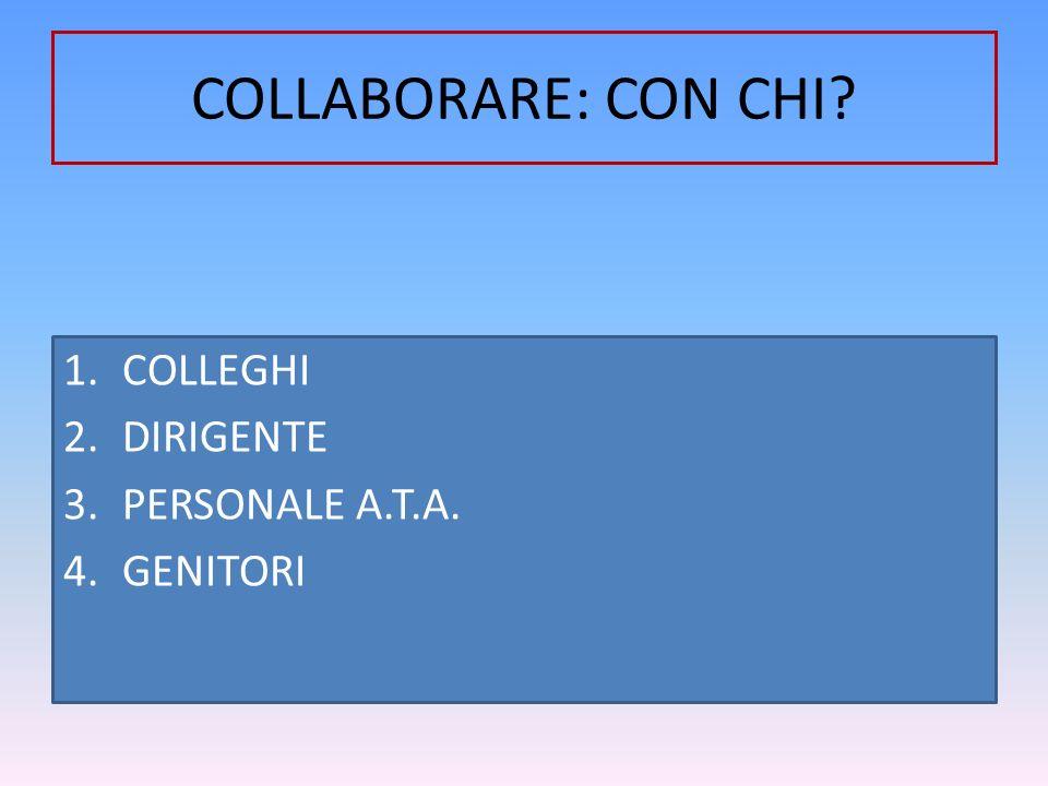 COLLABORARE: CON CHI COLLEGHI DIRIGENTE PERSONALE A.T.A. GENITORI