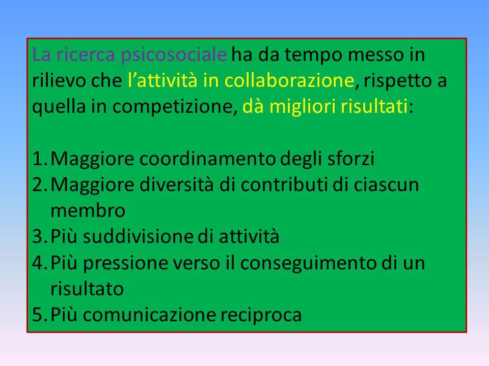 La ricerca psicosociale ha da tempo messo in rilievo che l'attività in collaborazione, rispetto a quella in competizione, dà migliori risultati: