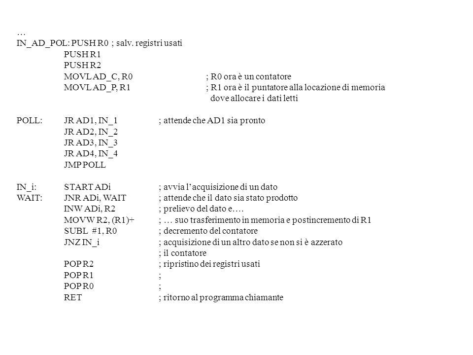 …IN_AD_POL: PUSH R0 ; salv. registri usati. PUSH R1. PUSH R2. MOVL AD_C, R0 ; R0 ora è un contatore.
