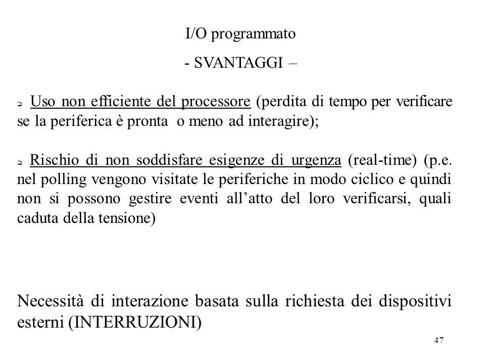 I/O programmato- SVANTAGGI –