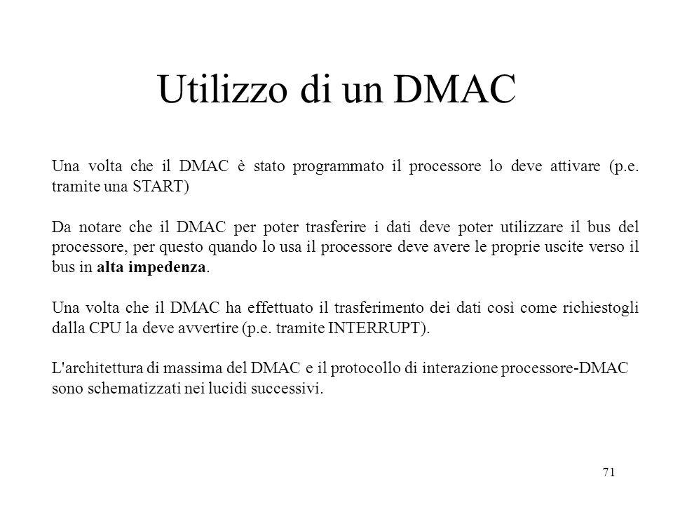 Utilizzo di un DMACUna volta che il DMAC è stato programmato il processore lo deve attivare (p.e. tramite una START)
