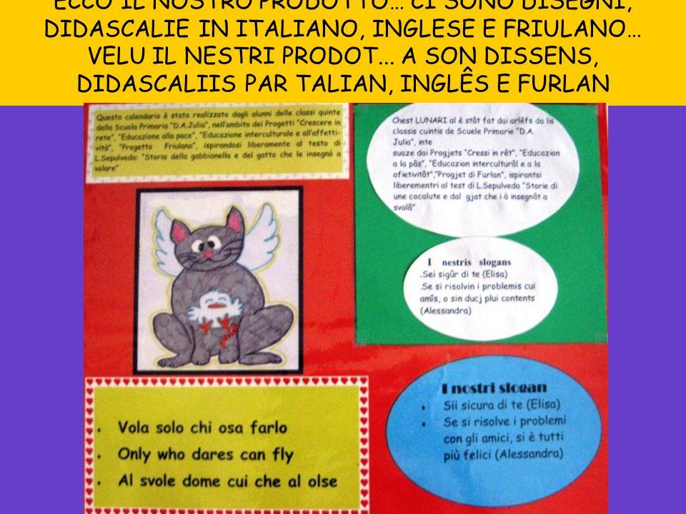 ECCO IL NOSTRO PRODOTTO… CI SONO DISEGNI, DIDASCALIE IN ITALIANO, INGLESE E FRIULANO… VELU IL NESTRI PRODOT...