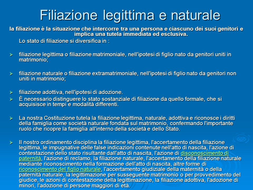 Filiazione legittima e naturale