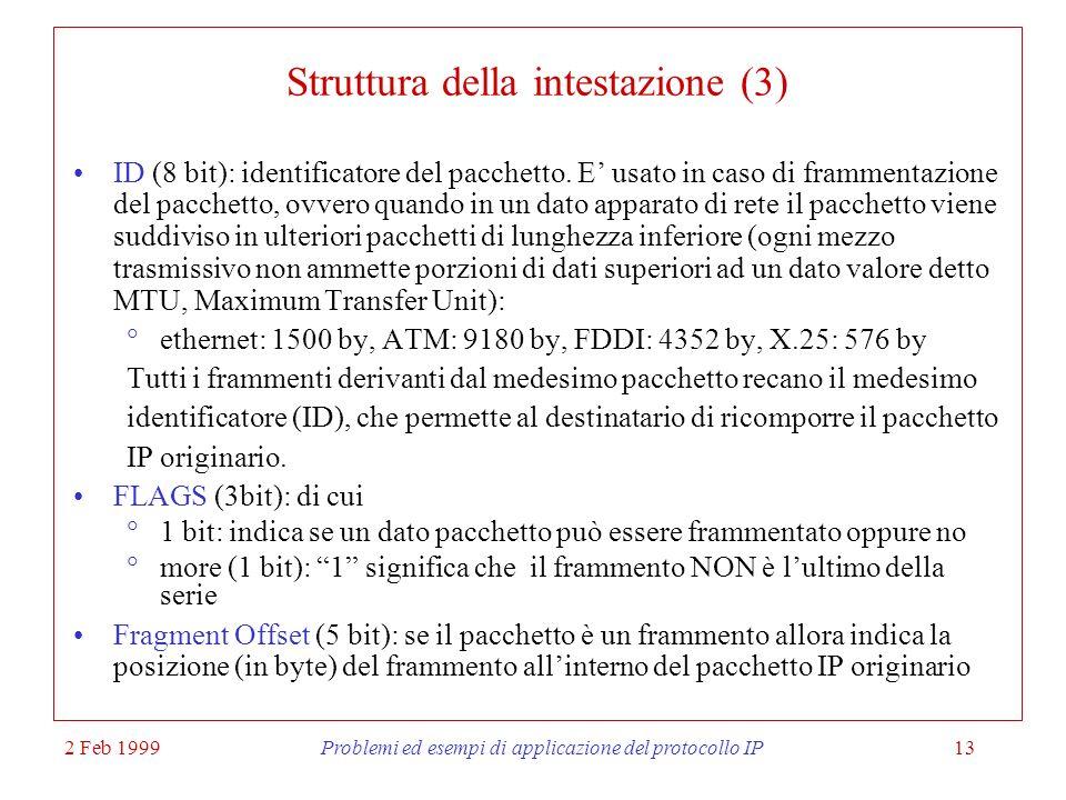 Struttura della intestazione (3)