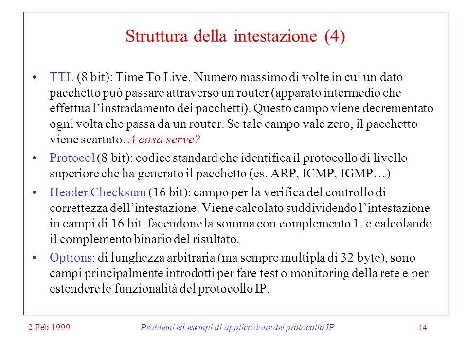 Struttura della intestazione (4)