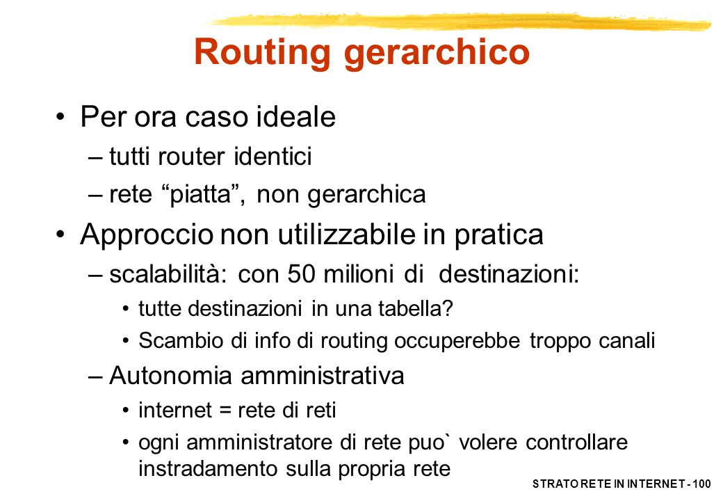 Routing gerarchico Per ora caso ideale