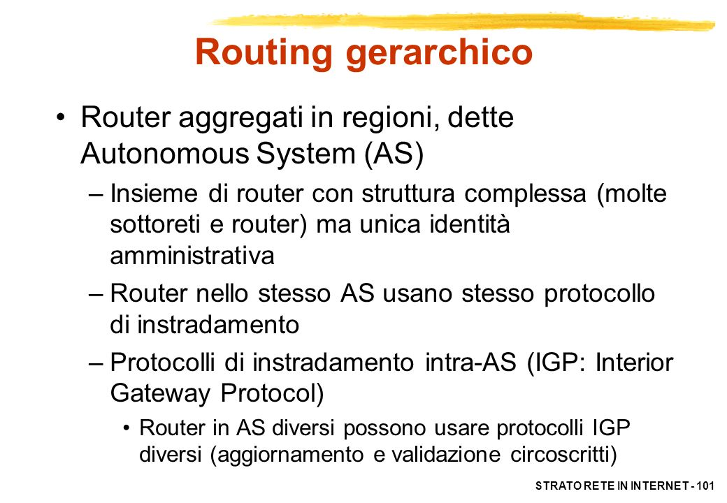 Routing gerarchico Router aggregati in regioni, dette Autonomous System (AS)