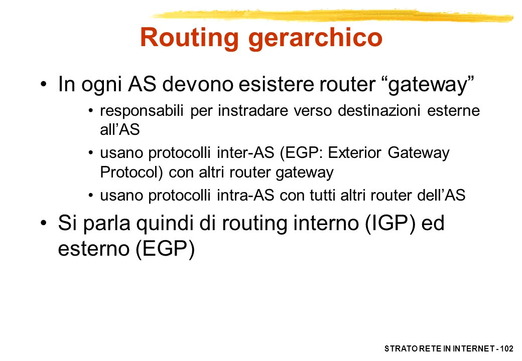 Routing gerarchico In ogni AS devono esistere router gateway