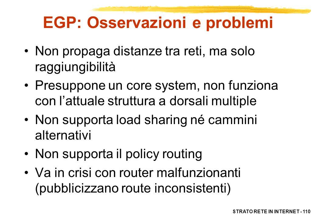 EGP: Osservazioni e problemi