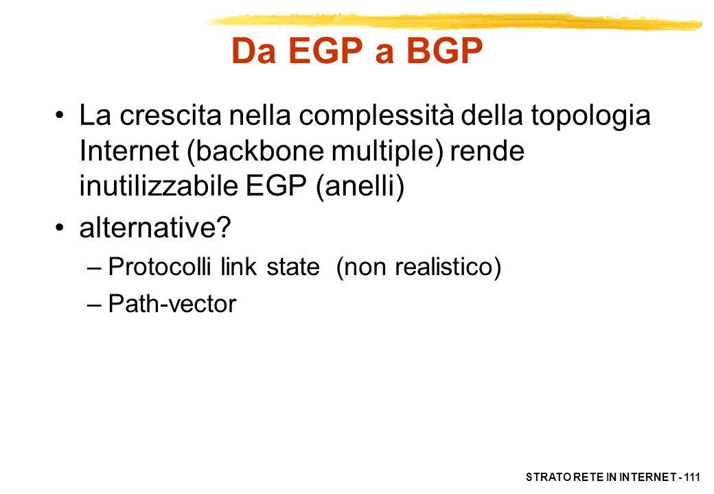 Da EGP a BGPLa crescita nella complessità della topologia Internet (backbone multiple) rende inutilizzabile EGP (anelli)