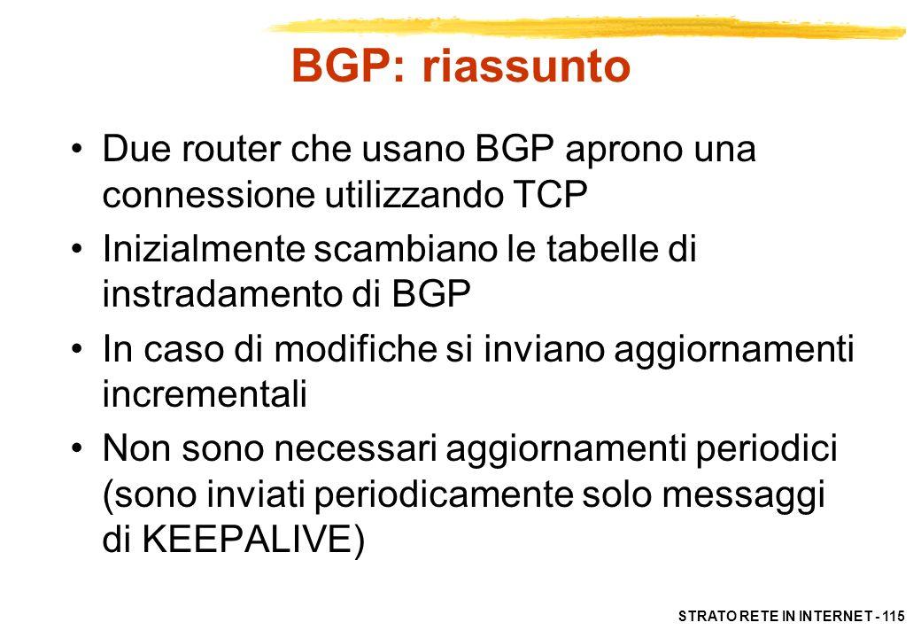 BGP: riassunto Due router che usano BGP aprono una connessione utilizzando TCP. Inizialmente scambiano le tabelle di instradamento di BGP.