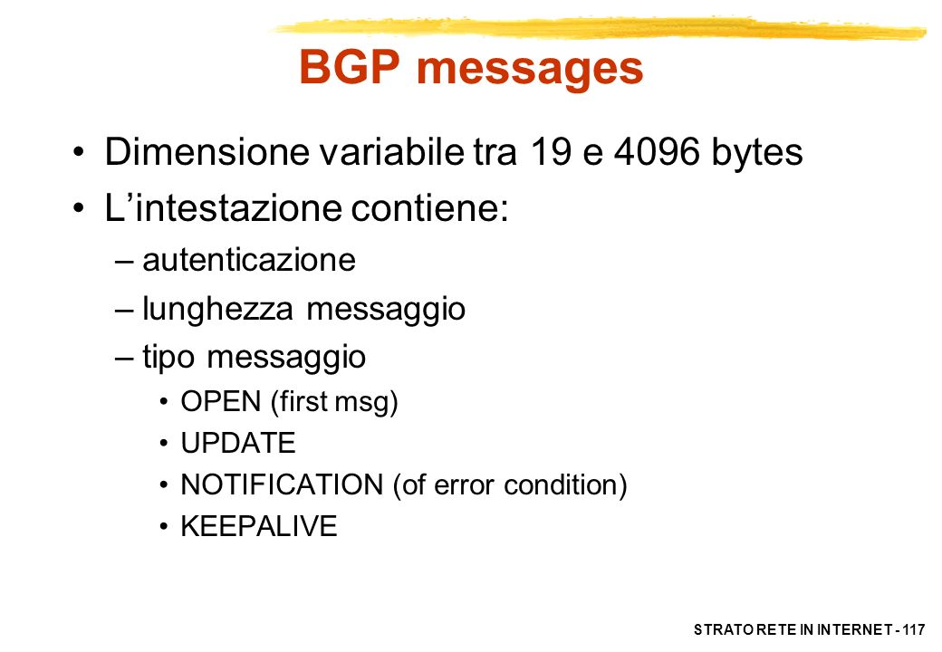 BGP messages Dimensione variabile tra 19 e 4096 bytes