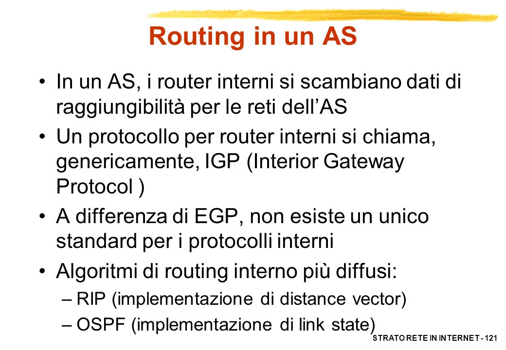 Routing in un AS In un AS, i router interni si scambiano dati di raggiungibilità per le reti dell'AS.