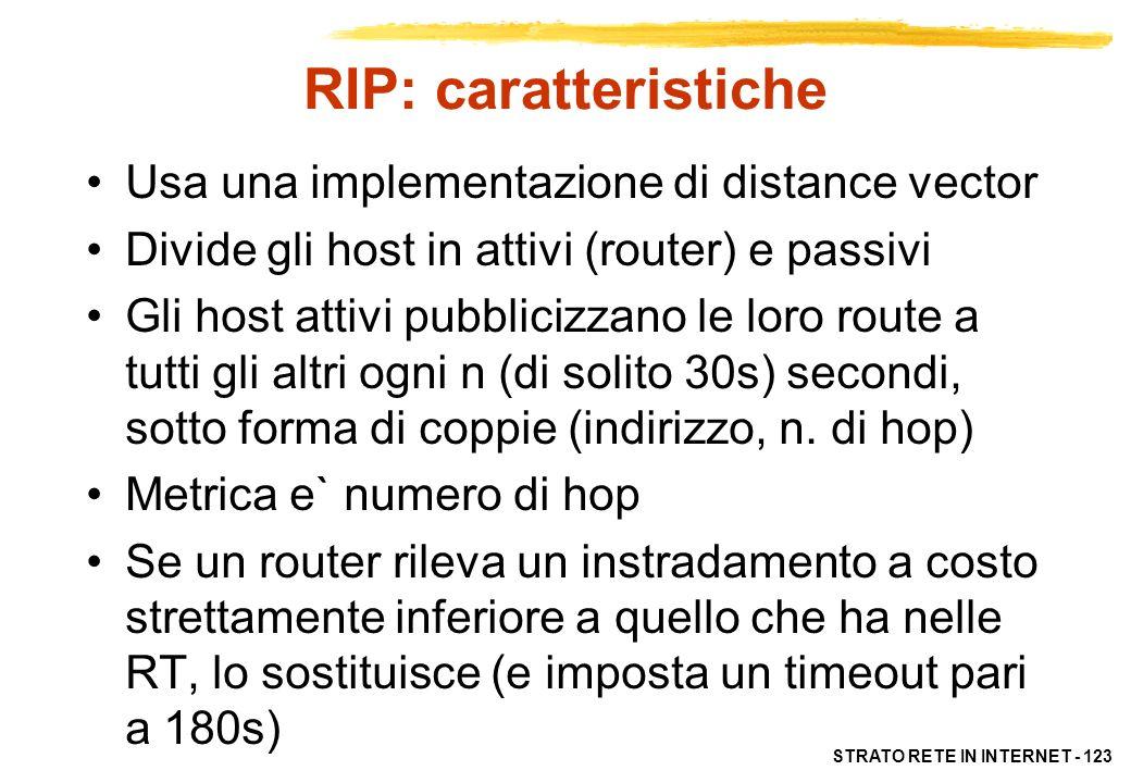 RIP: caratteristiche Usa una implementazione di distance vector