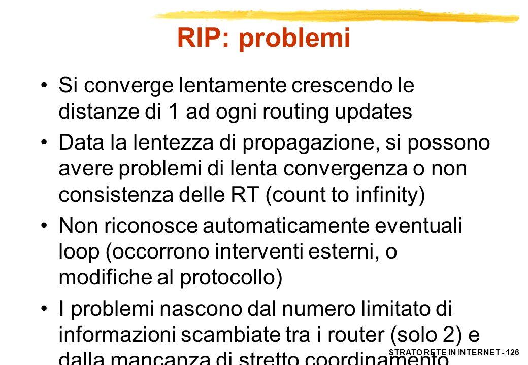 RIP: problemi Si converge lentamente crescendo le distanze di 1 ad ogni routing updates.