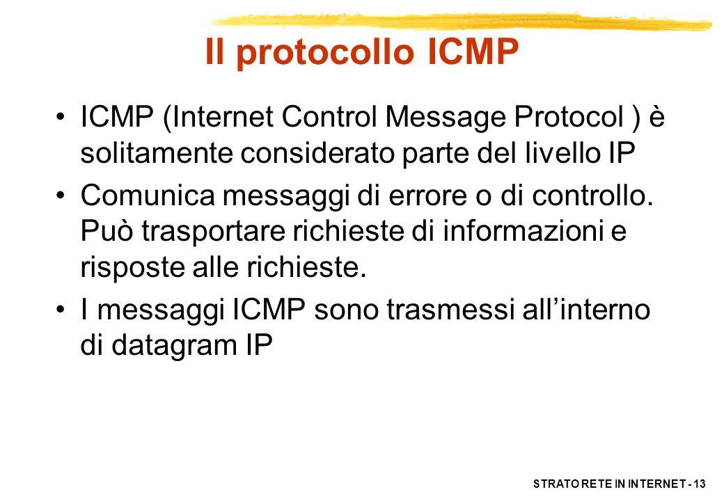 Il protocollo ICMP ICMP (Internet Control Message Protocol ) è solitamente considerato parte del livello IP.