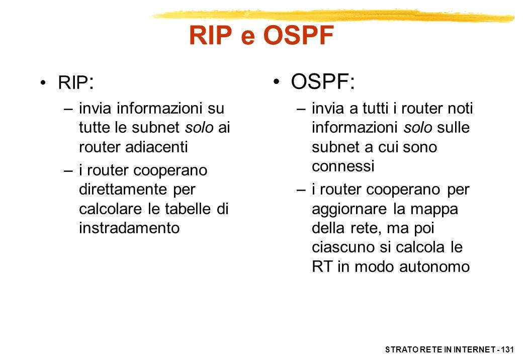 RIP e OSPF RIP: invia informazioni su tutte le subnet solo ai router adiacenti.
