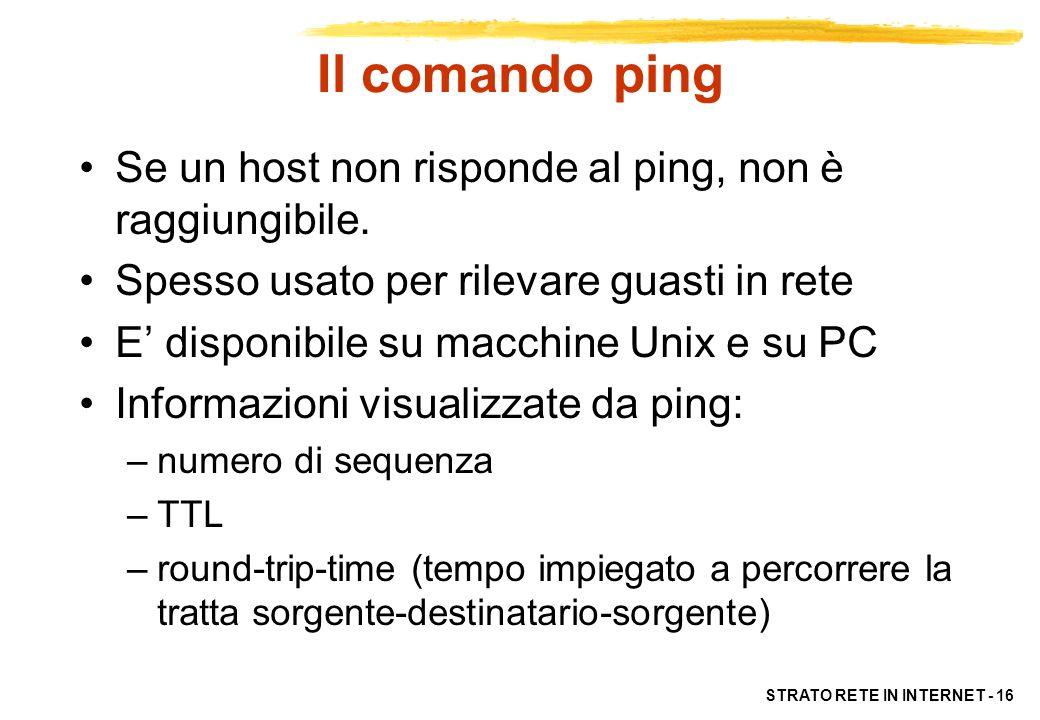 Il comando ping Se un host non risponde al ping, non è raggiungibile.