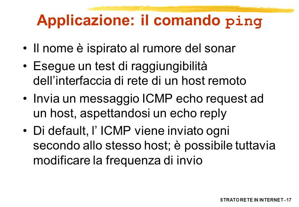 Applicazione: il comando ping