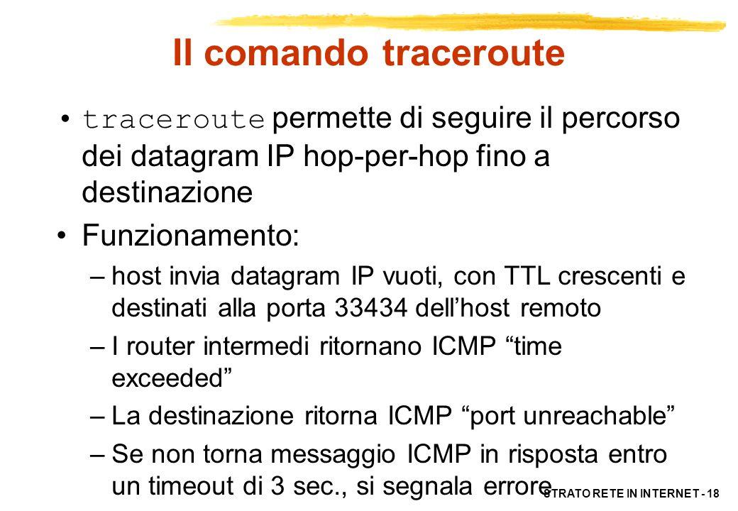 Il comando traceroute traceroute permette di seguire il percorso dei datagram IP hop-per-hop fino a destinazione.