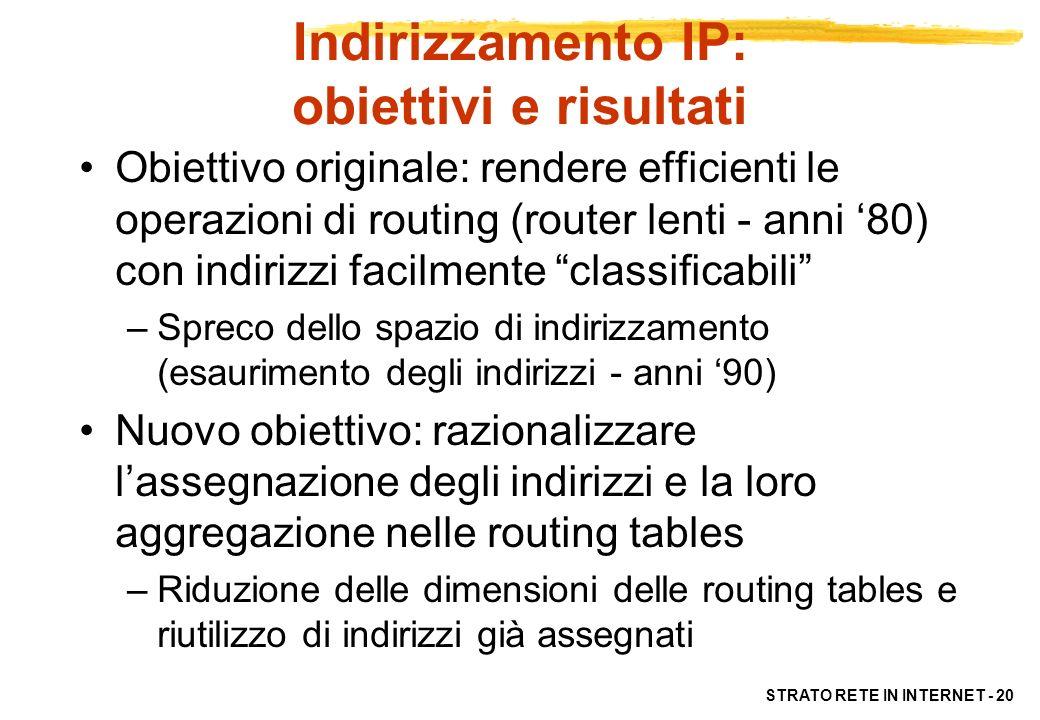 Indirizzamento IP: obiettivi e risultati