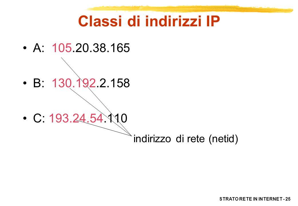 Classi di indirizzi IP A: 105.20.38.165 B: 130.192.2.158