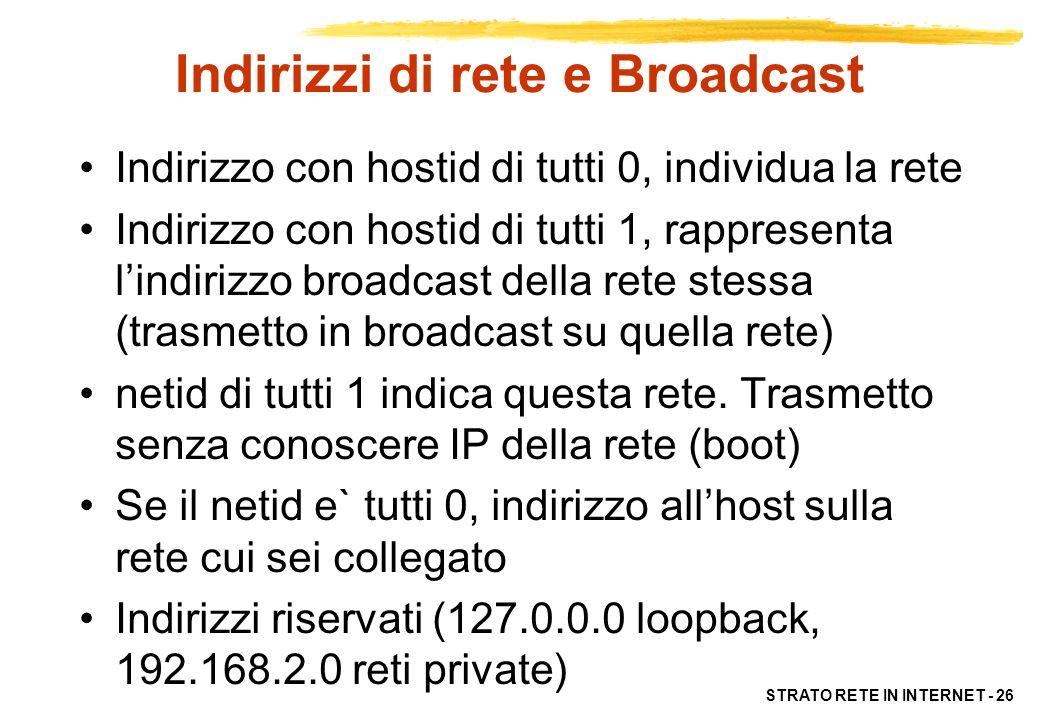 Indirizzi di rete e Broadcast