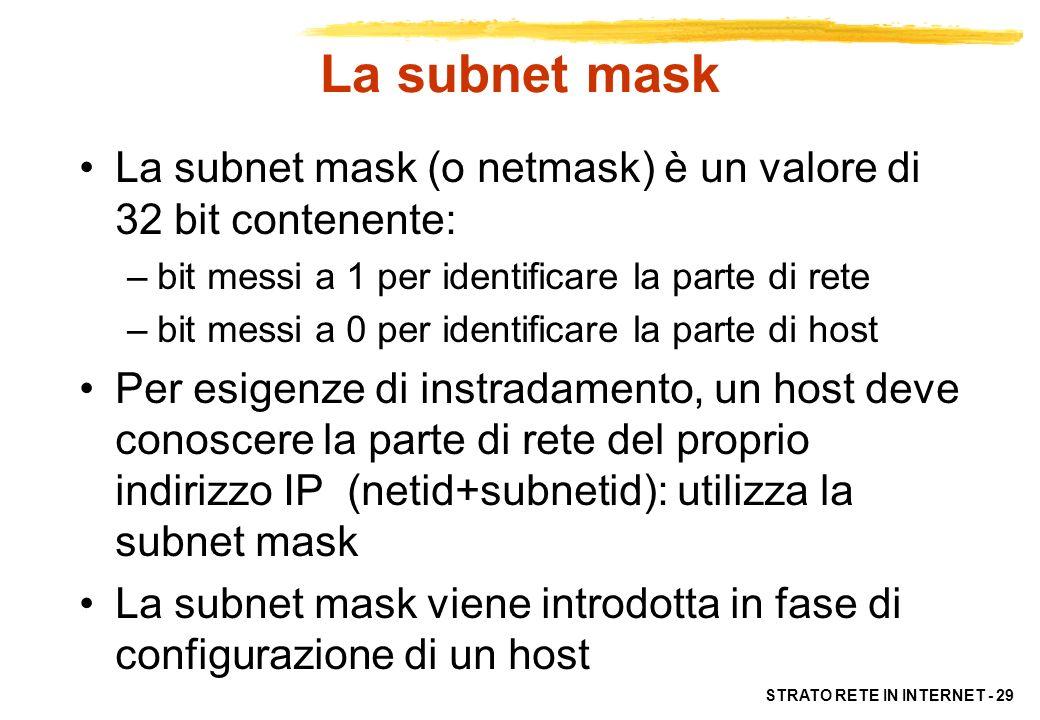 La subnet mask La subnet mask (o netmask) è un valore di 32 bit contenente: bit messi a 1 per identificare la parte di rete.