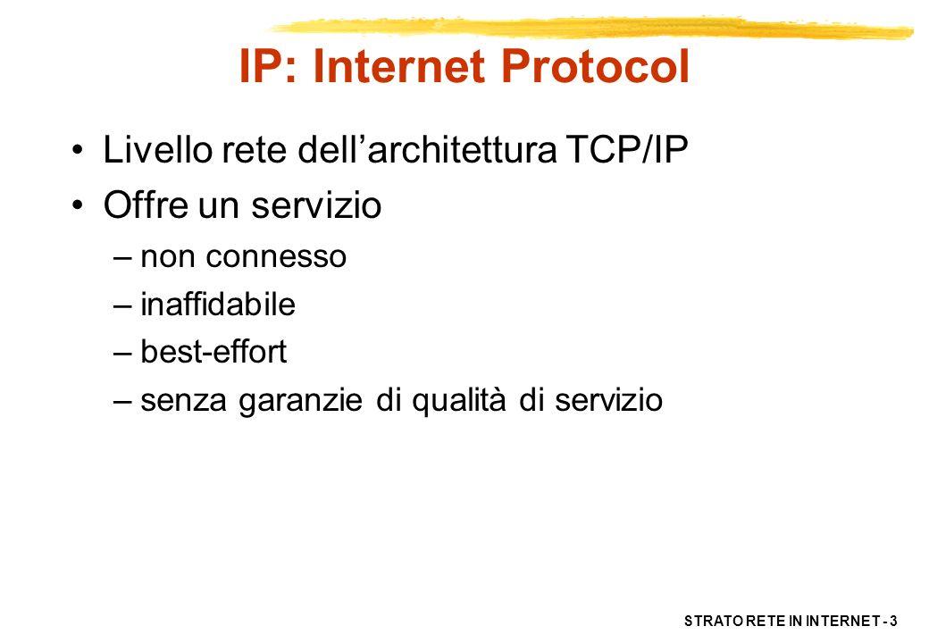 IP: Internet Protocol Livello rete dell'architettura TCP/IP