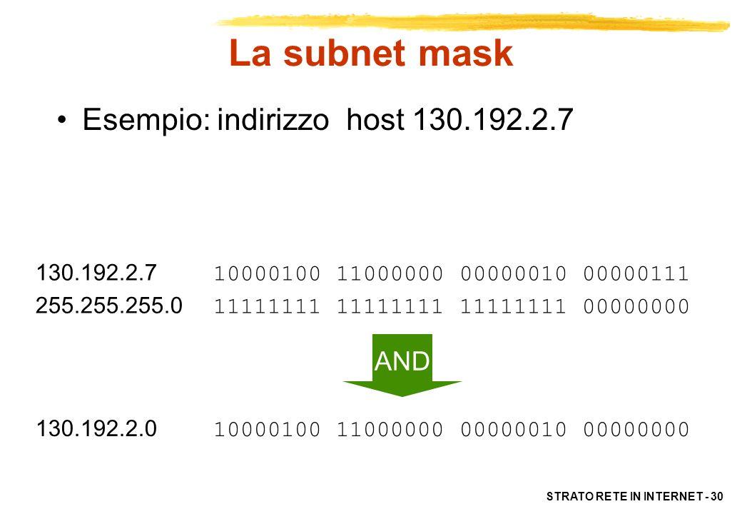 La subnet mask Esempio: indirizzo host 130.192.2.7 AND