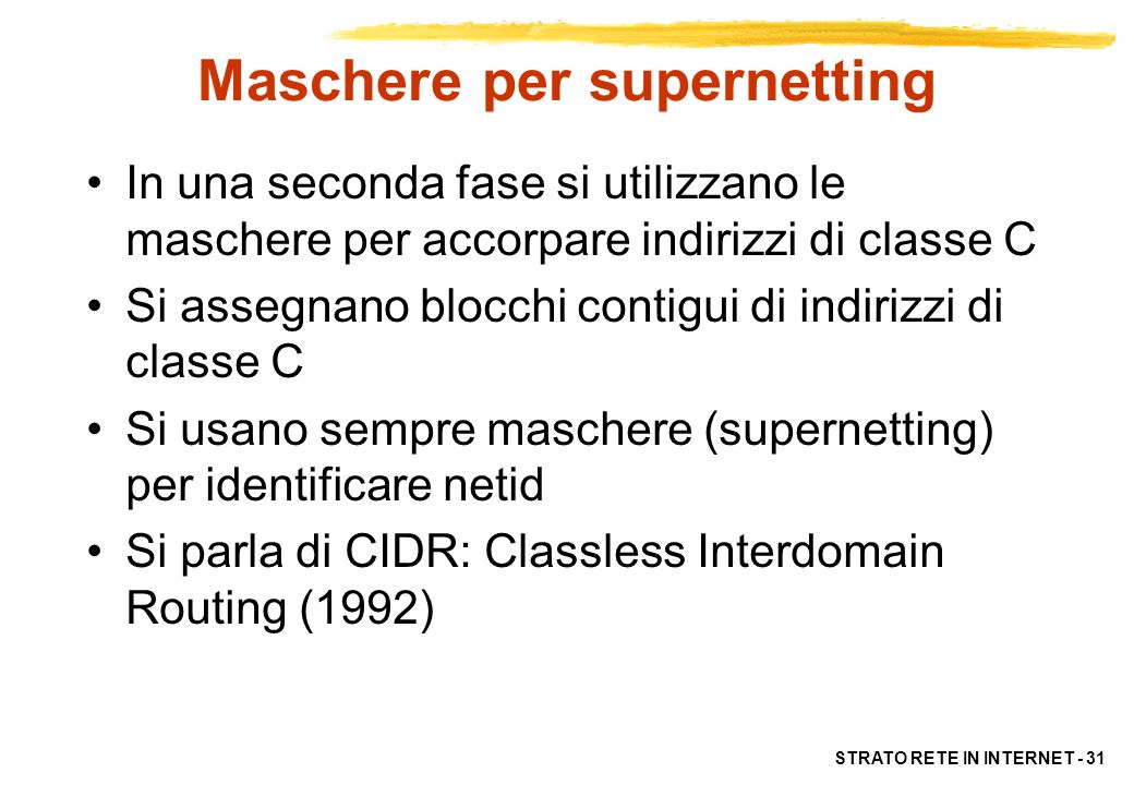 Maschere per supernetting