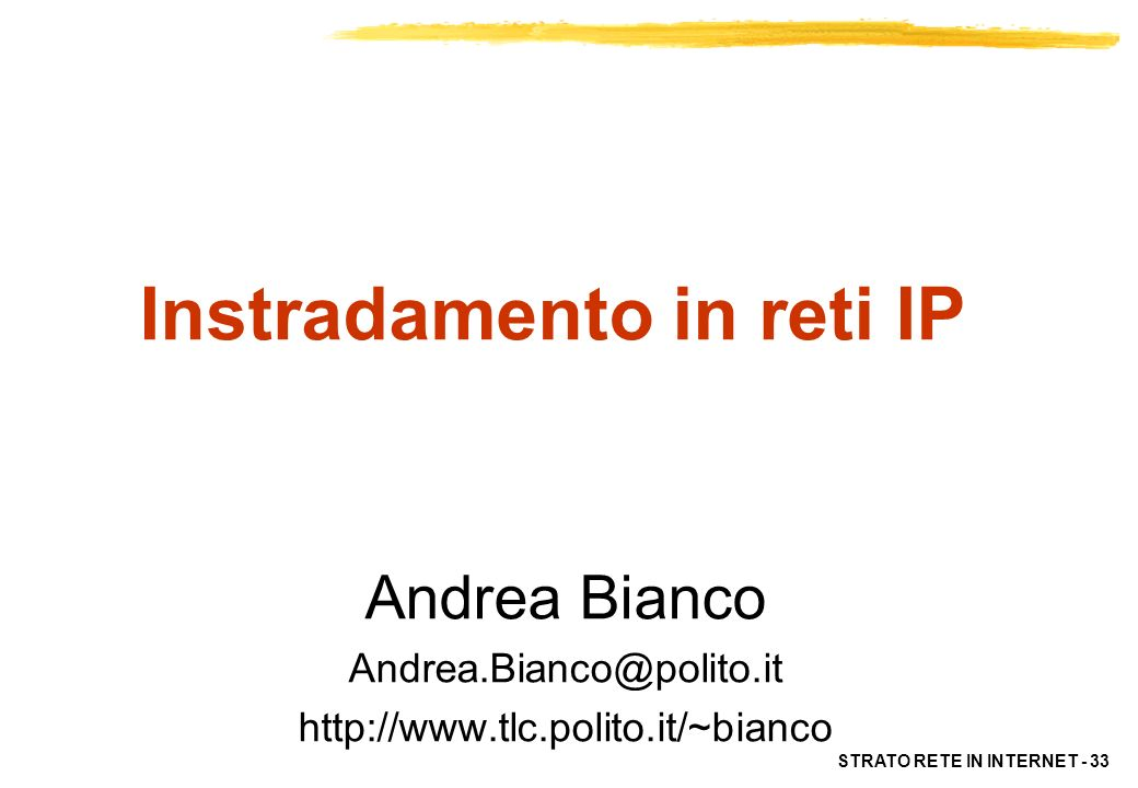 Instradamento in reti IP