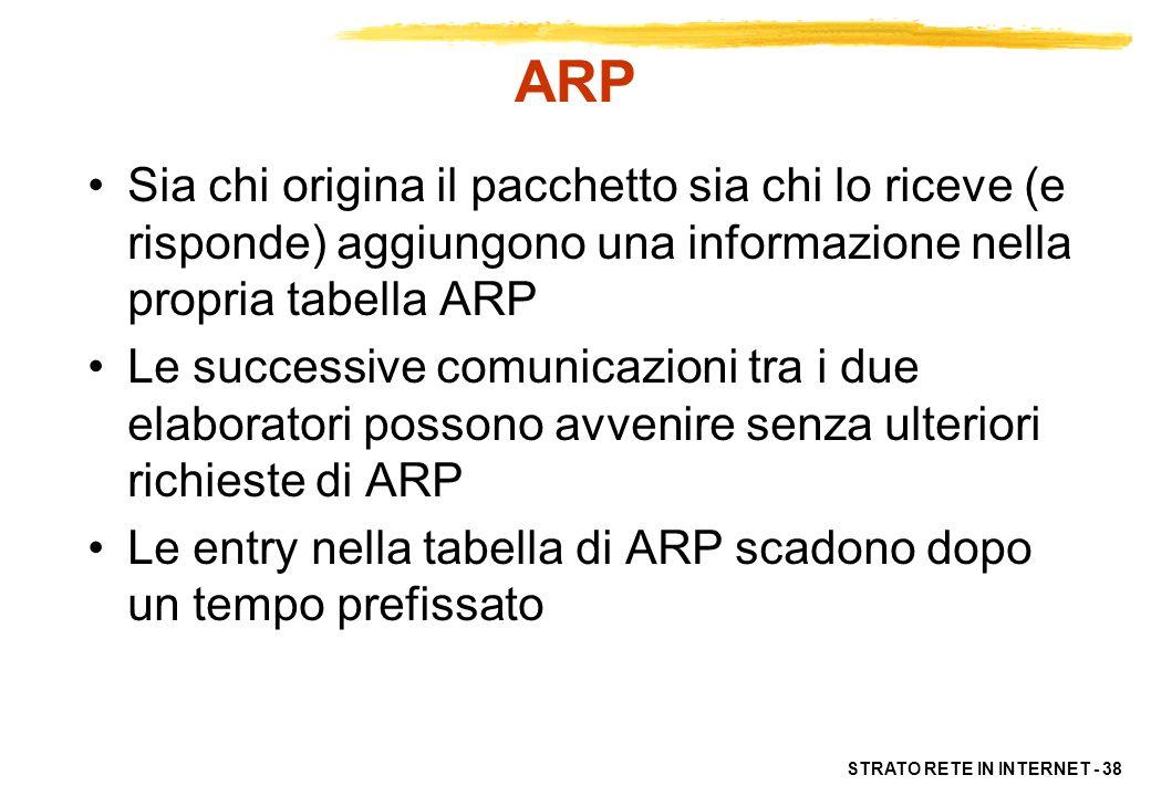 ARP Sia chi origina il pacchetto sia chi lo riceve (e risponde) aggiungono una informazione nella propria tabella ARP.