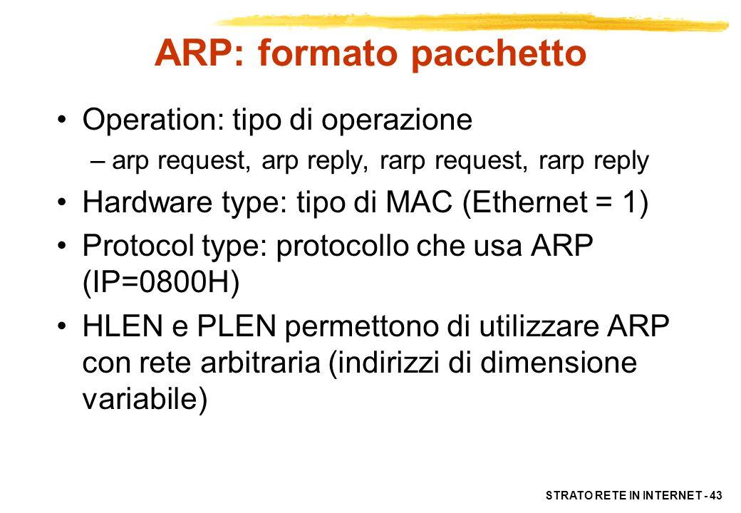 ARP: formato pacchetto