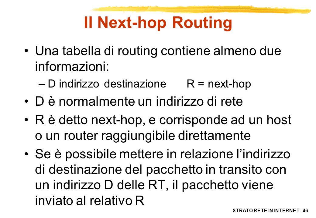 Il Next-hop Routing Una tabella di routing contiene almeno due informazioni: D indirizzo destinazione R = next-hop.