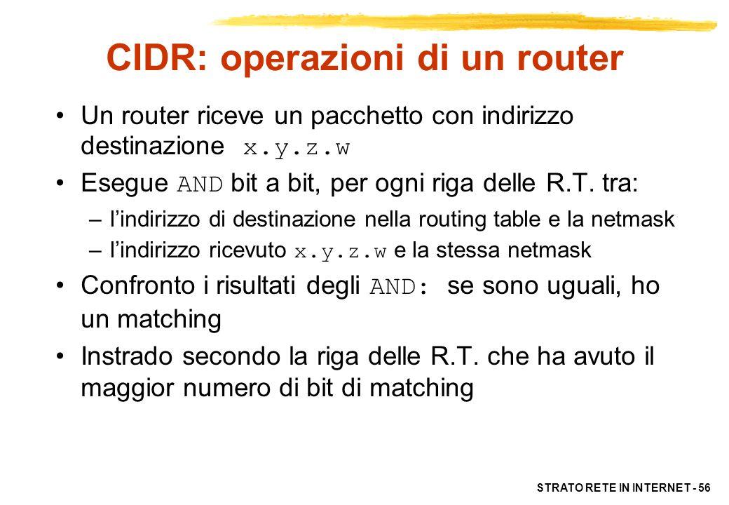 CIDR: operazioni di un router