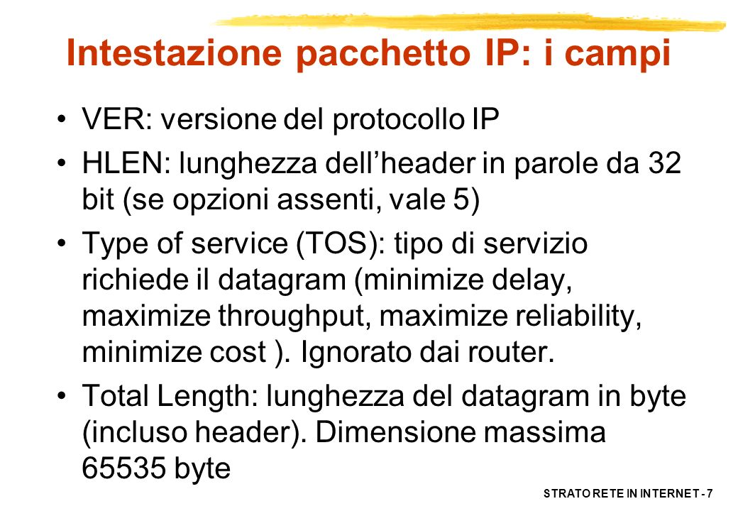 Intestazione pacchetto IP: i campi