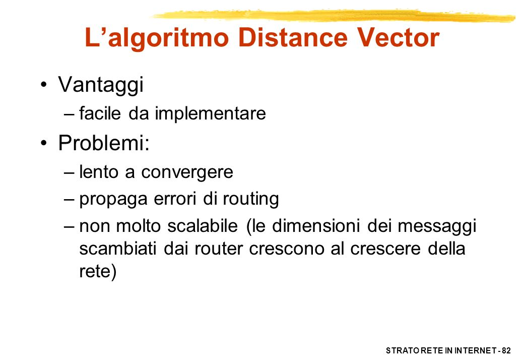 L'algoritmo Distance Vector